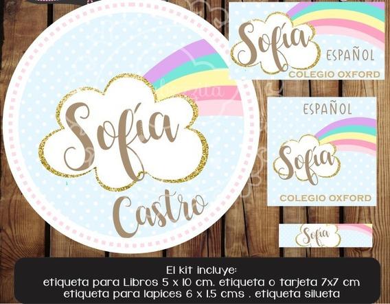 Kit Imprimible Etiquetas Escolares Lluvia Amor Promo 2x1