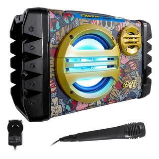 Parlante Karaoke Bluetooth Usb Luces Led Radio + Micrófono Música Celular Tablet Notebook Casa Oficina Fiesta Portátil