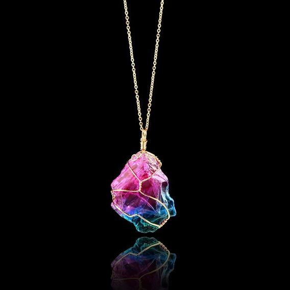 Colar Pingente Pedra Arco Iris Colorida