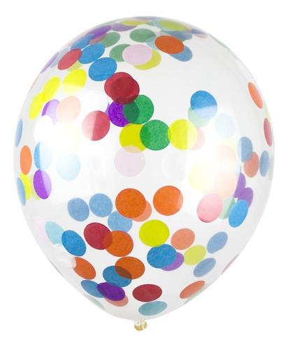 Set 6 Globos Cristal Latex Confetti Multicolor Apto Helio