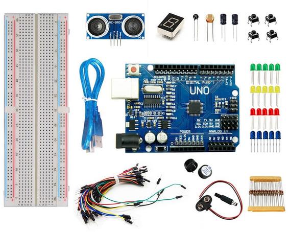 Kit Arduino Uno R3 Iniciante 100pcs + Protoboard + Brinde