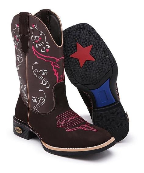 Bota Country Feminina Texana Bico Quadrado Couro Cano Medio