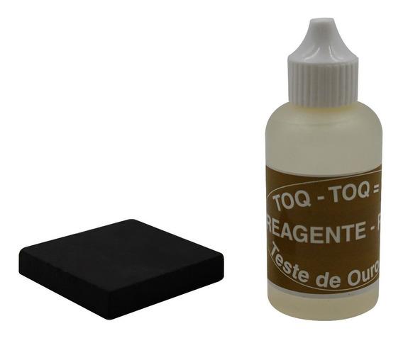Kit Liquido Teste De Ouro Prata 18k Reagente + Pedra Toque