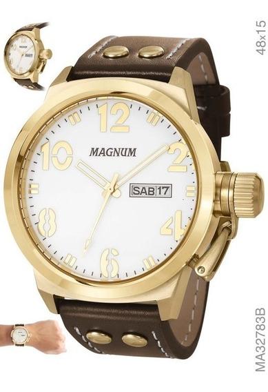 Relógio Masculino Em Couro Magnum Ma32783b Marrom