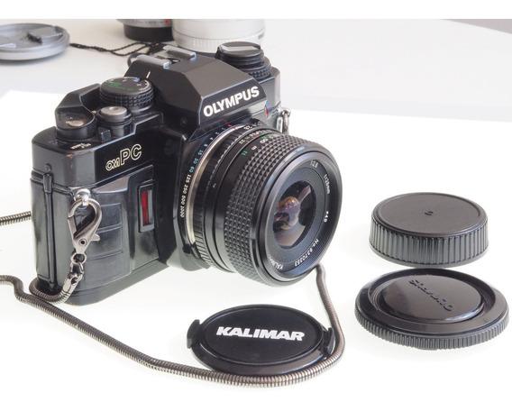 R$399 Maquina Fotográfica Analógica Olympus Om Pc / Om40 + Lente Kalimar Auto Macro 28mm F 2.8