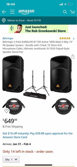 Corneta Monitores Behringer Eurolive B115d Amplificadas Usad