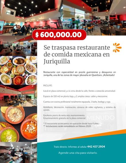 Se Traspasa Restaurante En Juriquilla