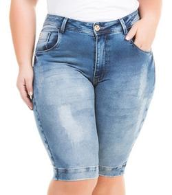 Bermuda Jeans Com Lycra Roupa Grande Gorda Plus Size Bdj141
