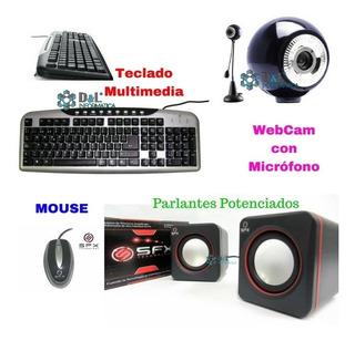 Kit Teclado Multimedia + Mouse Luz + Parlantes + Web Cam Mic