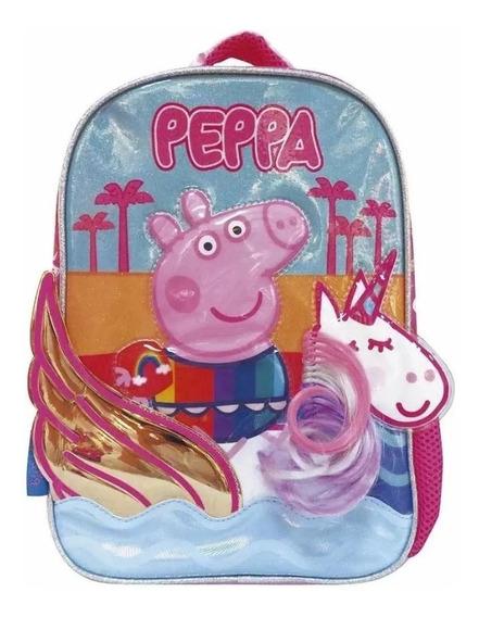 Mochila Peppa Pig Y Unicornio 12 Relieve Cresko Original