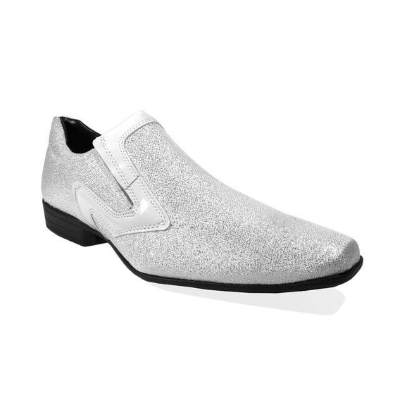 Sapato Masculino Social Branco Brilhoso Casamento Barato 02