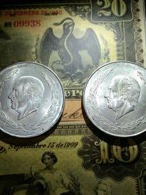 2 Monedas Hidalgo Cinco Pesos 1953