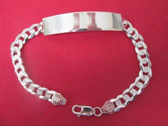 Esclava Barbada Diamantada Plata Fina 925 Caballero 22 Cm.