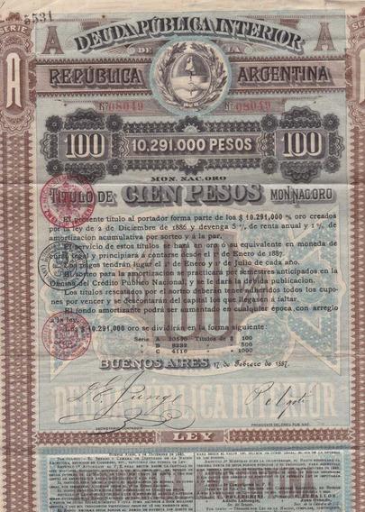 Republica Argentina - Deuda Publica Interior - 1887.