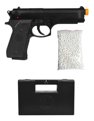 Imagem 1 de 6 de Arma De Pressão Pistola Airsoft Mola Kwc Beretta M92 + Case