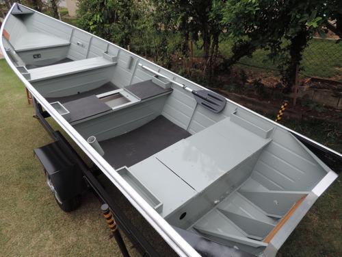 Barco De Alumínio Bico Fino 5 M Com Carreta Rodoviária
