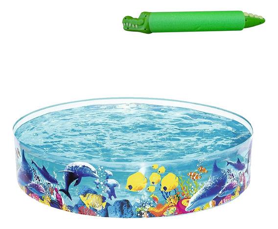 Piscina Infantil 946 Litros Fundo Do Mar + Lança Água Jacaré
