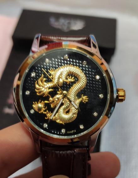 Relógio Lige Dragão Gold Couro