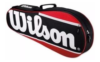 Maleta Wilson Para 2 Raquetas Negro Con Rojo