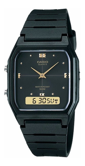 Relógio Casio Unissex Vintage Aw-48he 1av Preto Anadigi Off