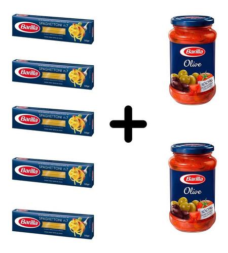 Imagen 1 de 1 de Fideos Barilla Spaghettoni 5 Paquetes + 2 Salsas De Olivas