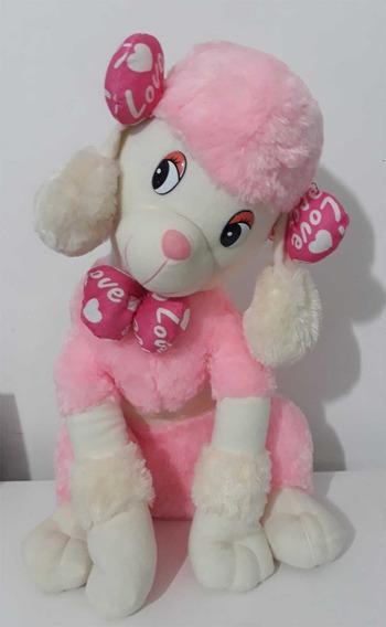 Cachorro Pelúcia Gigante 60cm Poodle Rosa Decoração Presente