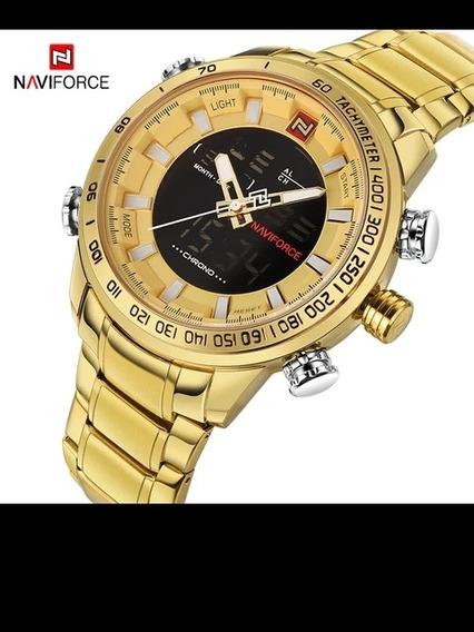 Relógio Naviforce Original Banhado A Ouro Barato.