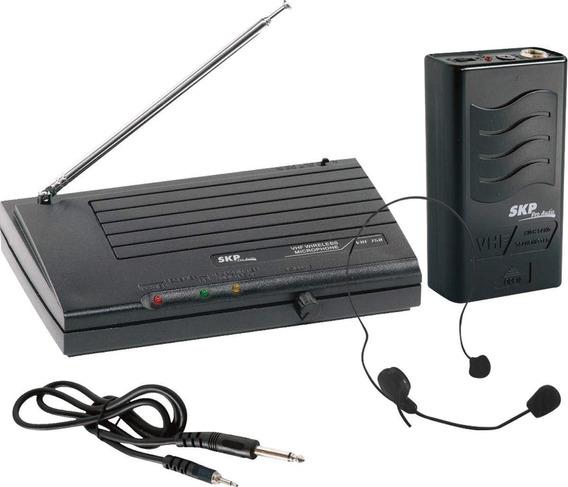 Microfone S/ Fio Headset Vhf855 Alcance 50m Em Espaço Aberto