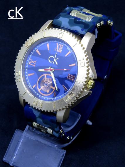 Relógio Subaqua Ck Dourado Grande Camuflado Masculino Origin
