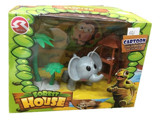 Set Animalitos De Juguete Elefante Y Palmera Simil Playmobil