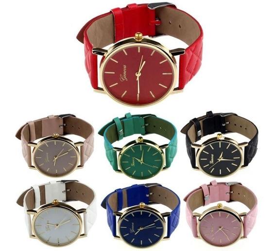 Relógio Feminino Geneva Pulseira De Couro Luxo Kit C/10 + Nf