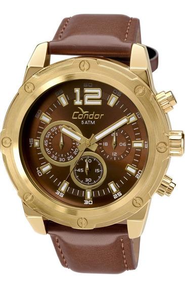 Relógio Condor Cronógrafo Dourado Pulseira Couro