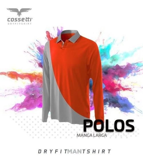 Playera Tipo Polo Cossetti Manga Larga Dry Fit Duo Fit Xl