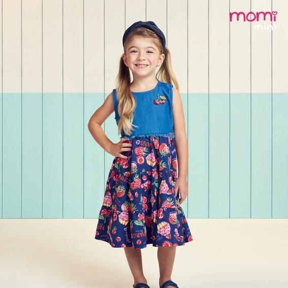 Momi Vestido Infantil Jeans Cerejas 1 Ao 6 Verão 2020