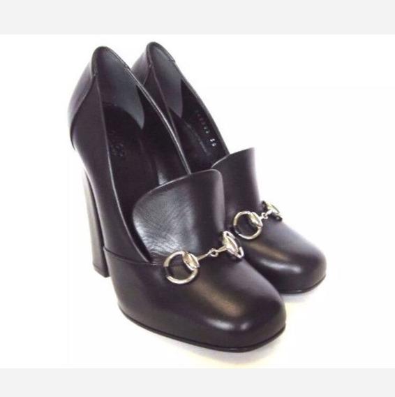 Zapato Italiano Gucci Negro Piel Nuevo En Caja