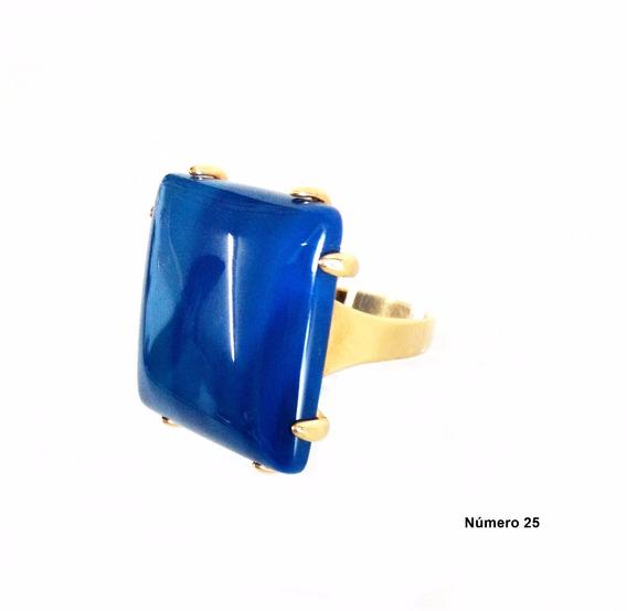 Semi Jóia Anel Dourado N°25 Pedra Natural Cor Azul