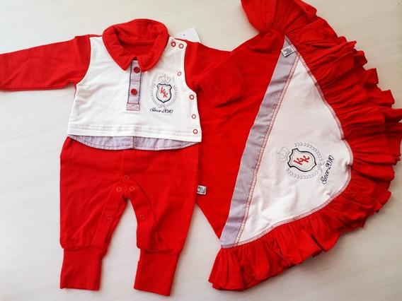 Kit Saída De Maternidade Vermelha Menino