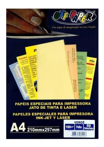 Papel Vergê A4 180g Off Paper 50 Folhas Cores