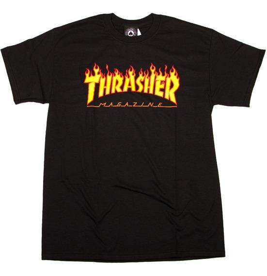 Playera Thrasher Flame Logo Black