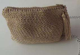 Bolsa Clutch De Crochê Em Dourado