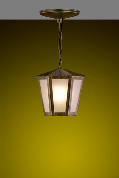 Pendente Colonial Sextavado Ideal Iluminação Ouro Velho