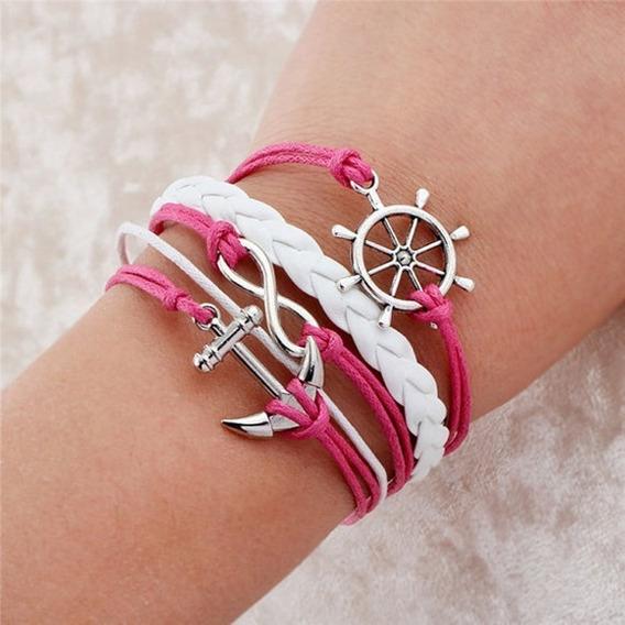 Bracelete De Couro Sintético Pulseira Artesanal Pingentes Oceano Mar Âncora Leme Infinito Cordão Rosa Fashion Boho