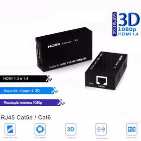 Extensor Hdmi 60 Metros X Rj45 Cat5/ Cat6 3d 1080p Bivolt