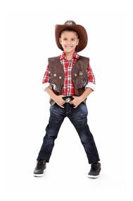 Colete Cowboy Com Chapeu Infantil Unissex Kit 2 Peças