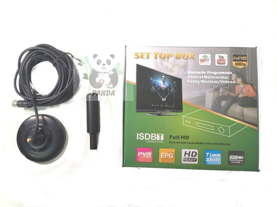 Kit Conversor Digital Tv + Antena Hdtv 4,3m Pronta Entrega