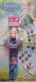 Relógio Projetor De Luz Com Slides Do Filme Frozen Elsa