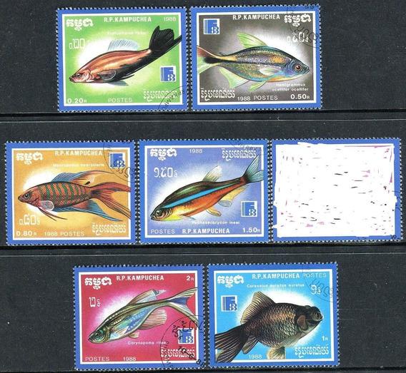 Peixes Coloridos (fauna) 2 Séries Anos 1985/88 C/12 Selos