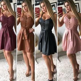 Vestido Feminino Curto Rodado Couro Ecológico Alcinha Fs