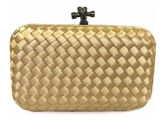Bolsa Clutch Trançada Dourada