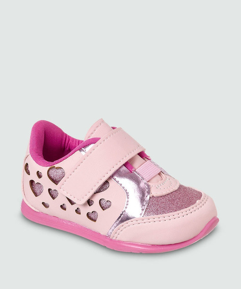 Tênis Casual Infantil Feminino Rosa Velcro Lançamento 2019